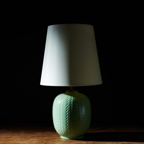 Fishbone Pattern Ceramic Table Lamp by Anna-Lisa Thomson