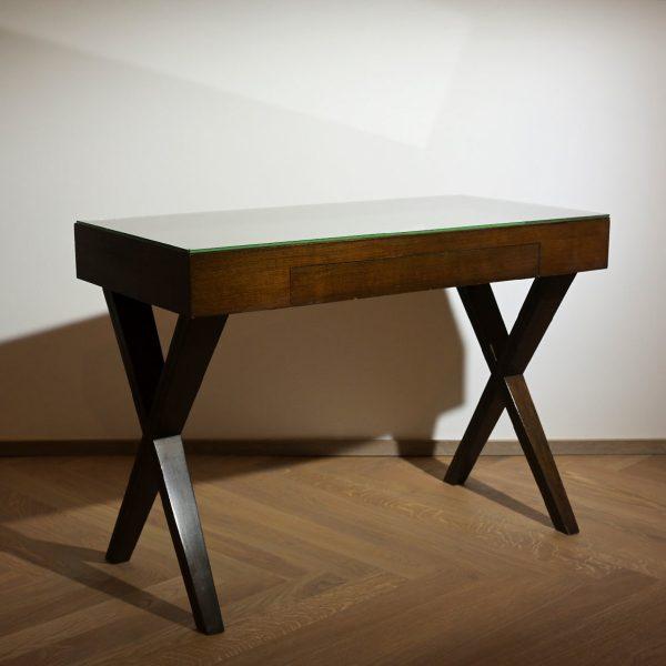 Oak wood desk with glass top