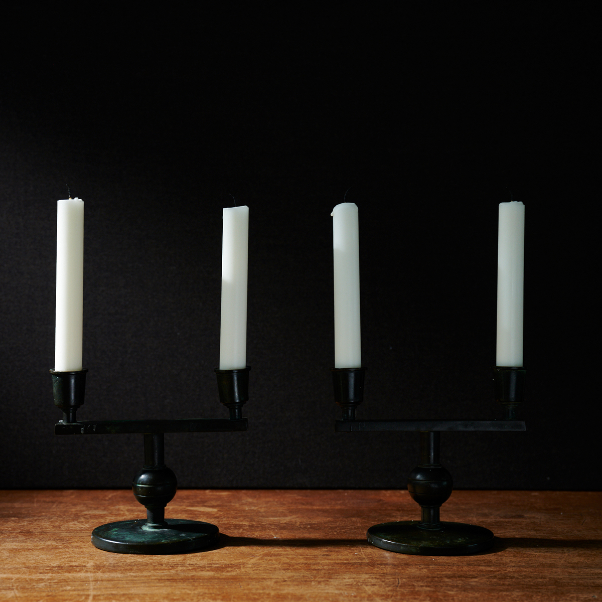 A pair of art deco candelabra by Nils Fougstedt