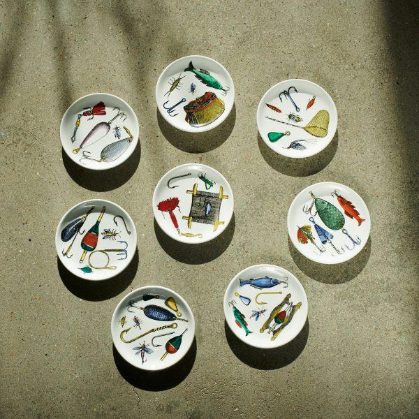 Eight coasters 'La pesca' by Piero Fornasetti